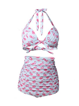 Ericdress Lace-Up Flamingos Print High-Waist Tankini Set (Plus Size Available)