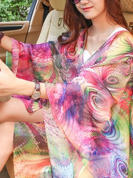 Ericdress Colorful Plant Print Charmeuse Cover-Up