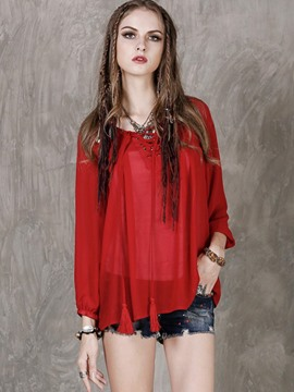 Ericdress Lace-Up Tassel Chiffon Blouse