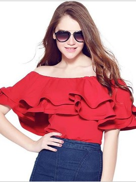 Ericdress Off Shoulder Frill T-Shirt