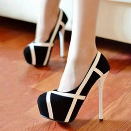 Ericdress Color Block Platform Round Toe Pumps