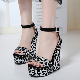 Ericdress Leopard Print Platform Wedge Sandals