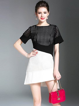 Ericdress Fashionable Color Block Asymmetrical A Line Dress