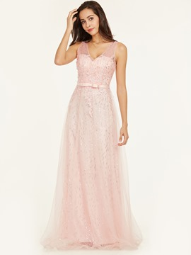 Ericdress V Neck Backless Sequins A Line Prom Dress