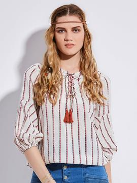 Ericdress Lantern Sleeve Lace-Up Stripe Blouse
