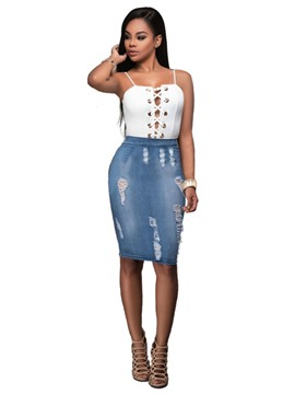 Ericdress Sleeveless Patchwork Denim Suits