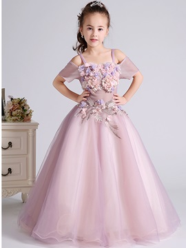 Ericdress A-Line 3D Flowers Off Shoulder Spaghetti Straps Flower Girl Dress