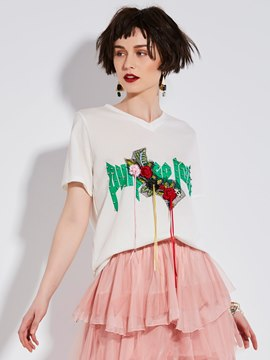 Ericdress V-Neck Bead Floral Embroidery T-Shirt