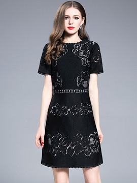 Ericdress Crocheted Hollow Short Sleeve A Line Dress