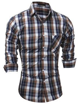 Ericdress Plaid Casual Slim Men's Shirt