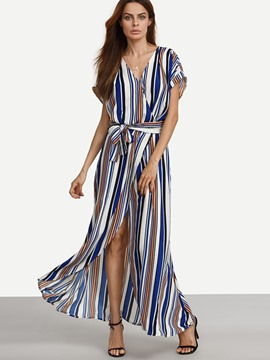 Ericdress Stripe V-Neck Bow-Tied Front-Split Maxi Dress