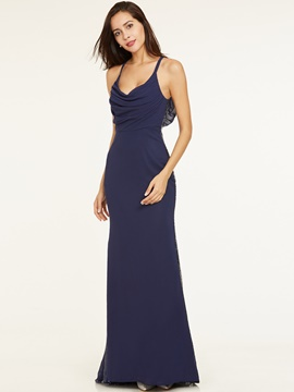 Ericdress Straps Zipper-Up Floor-Length Long Evening Dress