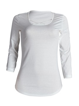 Ericdress Plain V-Neck Three-Quarter Tee Shirt
