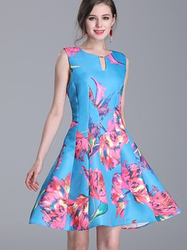 Ericdress Ladylike Print Sleeveless Expansion A Line Dress