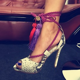 Ericdress Snake Tassels Peep Toe Stiletto Sandals