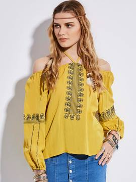 Ericdress Bohoartist Slash Neck Embroidery Blouse
