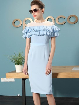 Ericdress Short Sleeve Plain Mesh Ruffled Frill Dress