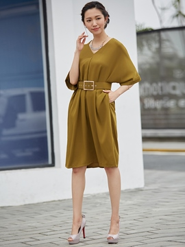 V-Neck Half Sleeve Plain Party Dress