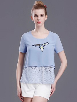 Ericdress Animal Embroidery Lace Patchwork T-Shirt