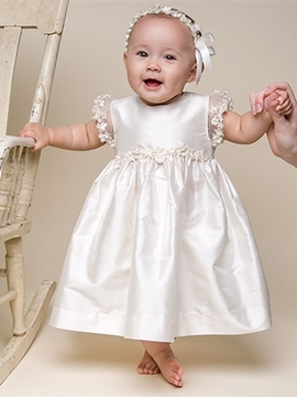 Ericdress Lace Infant Baby Girls Baptism Christening Gown with Headpiece
