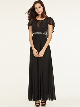 Ericdress Scoop Neck Beaded Lace A Line Evening Dress