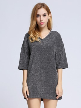 Ericdress V-Neck Sequins Half Sleeve T-Shirt