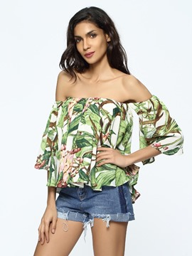 Ericdress Off Shoulder Floral Print Blouse