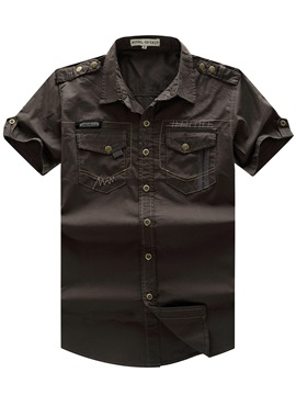 Ericdress Plain Short Sleeve Pocket Quality Men's Shirt
