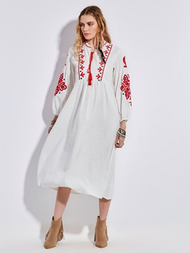 Ericdress Embroidery Lantern Sleeves Maxi Dress