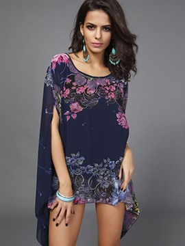 Ericdress Batwing Sleeve Floral Print Chiffon Blouse