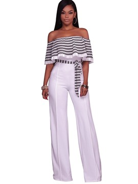 Ericdress Slash Neck Striped Wide Leg Women's Jumpsuits