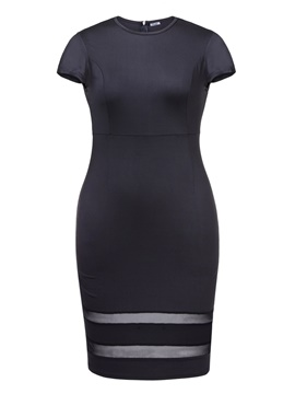 Ericdress kurzarm mes patchwork bodycon kleid
