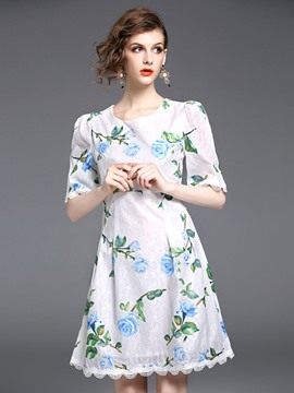 Ericdress FloralHalf Sleeves Above Knee Summer A Line Dress