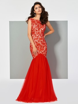 Ericdress Bateau Neck Deep BacK Lace Mermaid Evening Dress
