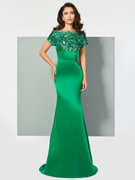 Ericdress Cap Sleeve Applique Mermaid Evening Dress In Floor Length