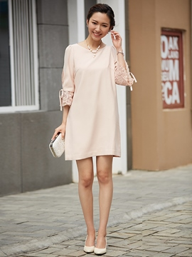 Lace Patchwork Flare Sleeve Party Dress