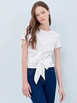 Ericdress Bow Tie White T-Shirt
