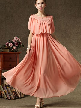 Ericdress Sweet Plain Ruffles Short Sleeve Flowy Maxi Dress
