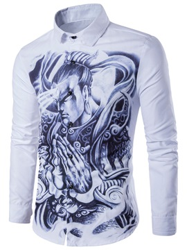 Ericdress Long Sleeve Casual Print Slim Men's Shirt