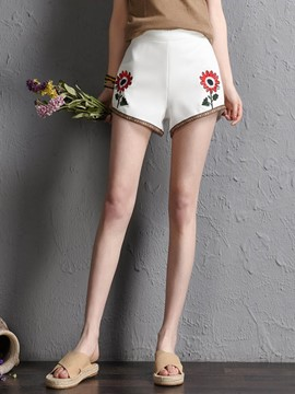 Ericdress Mid-Waist Floral Embroidery Shorts Pants