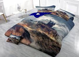 3D Tank Printed Cotton 4-Piece Bedding Sets/Duvet Covers