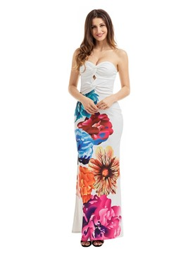 Ericdress Print Strapless Backless Maxi Dress