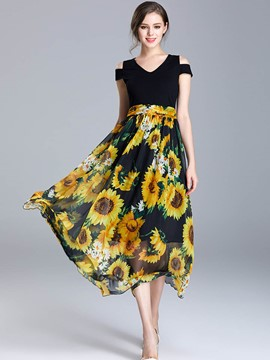 Ericdress Patchwork Sunflower Print FlowyMaxi Dress