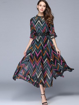 Ericdress Wave Cut Flare Sleeve Stand Collar Maxi Dress