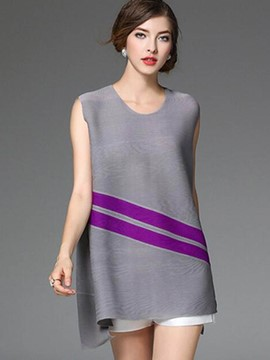 Ericdress Color Block Striped Loose T-Shirt
