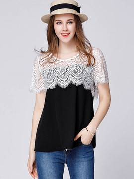 Ericdress Lace Patchwork Plus Size T-Shirt