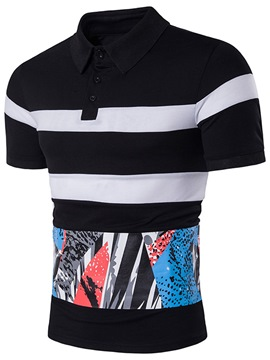 Ericdress Color Block Print Men's Polo T-Shirt