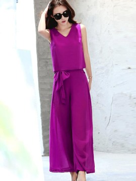 Ericdress V-Neck Solid Color Wide Leg Leisure Suits