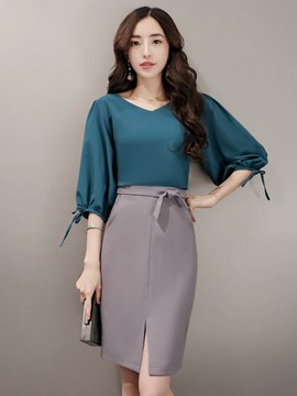 Ericdress V-Neck Half Sleeves Bodycon Women Suits