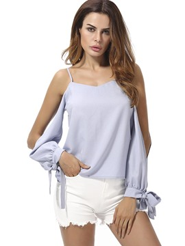 Ericdress Split Sleeve Tie Chiffon Blouse
